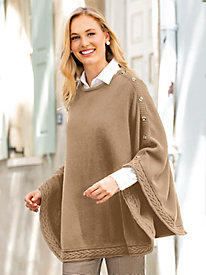 Button Sweater Poncho