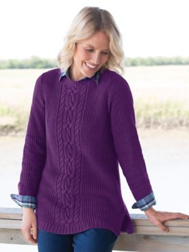 Center Cable Shaker Sweater