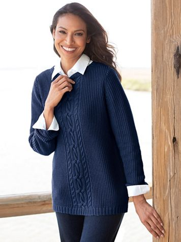 Center Cable Shaker Sweater - Image 7 of 7
