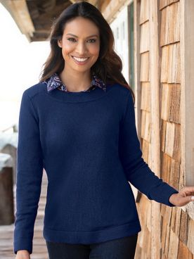Bateau-Neck Pullover Sweater