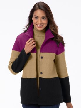 Colorblock Boiled-Wool Jacket