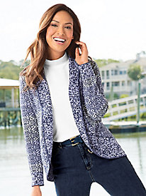 Open-Front Jaquard Cardigan