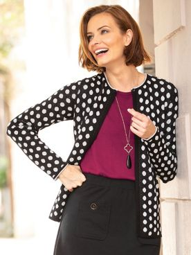 Reversible Jaquard Dot Cardigan