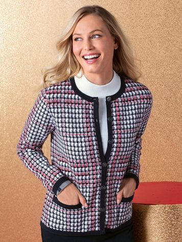 Houndstooth Tipped Cardigan