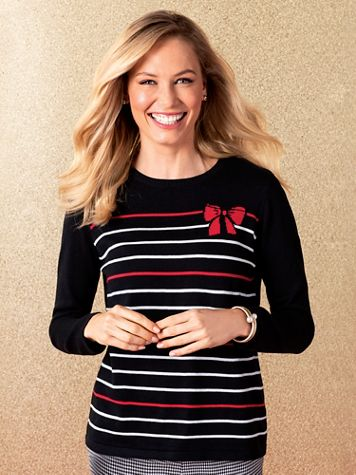 Jaquard Stripe Bow Sweater - Image 1 of 3