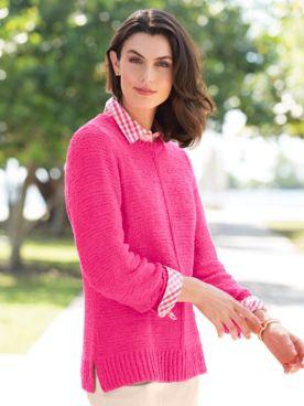 Textured Center-Seam Sweater
