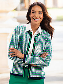Dot Striped Tipped Cardigan