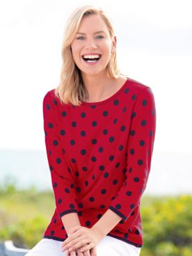 Reversible Cotton Dot Sweater