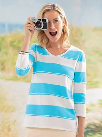 Striped V-Neck Sweater - Image 1 of 5