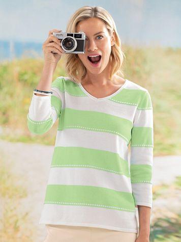 Striped V-Neck Sweater - Image 1 of 1