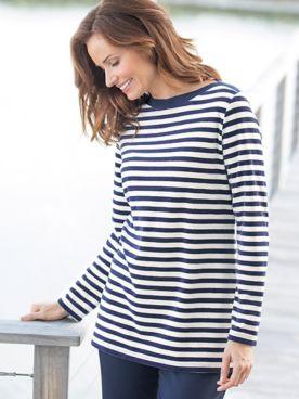 Striped Velour Bateau Tunic