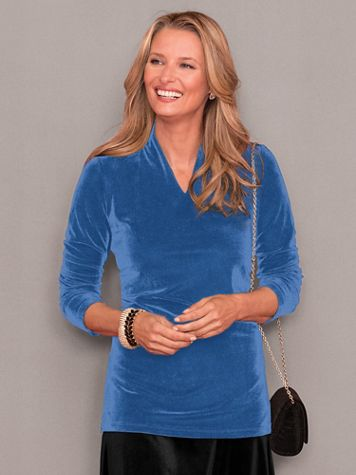 Split Neck Velvet Tunic