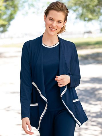 Open-Front Tipped Jersey Cardigan