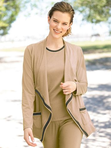 Open-Front Tipped Jersey Cardigan - Image 1 of 1