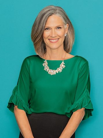 Spiral Ruffle Sleeve Top - Image 1 of 2