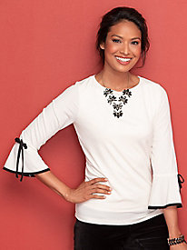 Tipped Tie-Sleeve Topper