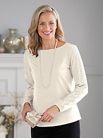 Crochet Sleeve Bateau Neck Knit Top