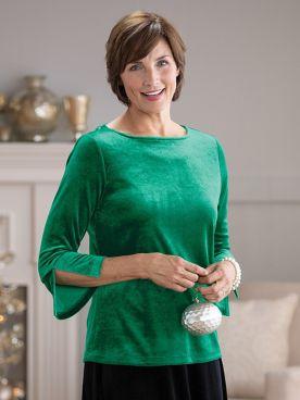 Knit Velvet Flounce Sleeve Topper