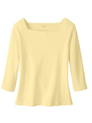 Solid Cotton Square Neck Tee Shirt - Image 4 of 4