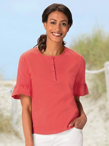 Essential Cotton Ruffle Sleeve Henley - Image 1 of 9