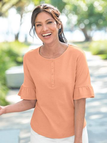 Essential Cotton Ruffle Sleeve Henley - Image 1 of 4