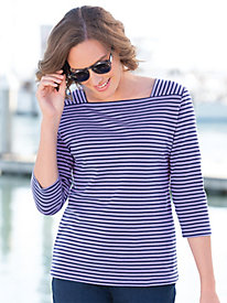 Striped Cotton Square Neck Tee Shirt