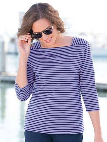 Striped Cotton Square Neck Tee Shirt - Image 1 of 9