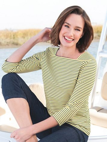 Striped Cotton Square Neck Tee Shirt - Image 1 of 8