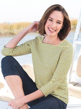 Striped Cotton Square Neck Tee Shirt
