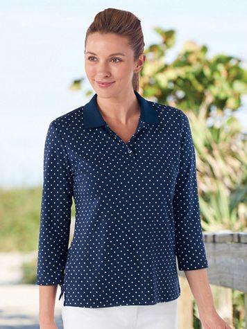 Dot-Print Knit Polo Shirt - Image 1 of 4