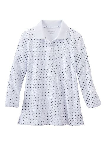 Dot-Print Knit Polo Shirt - Image 1 of 2