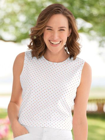 Dot-Print Cotton-Blend Tank Top - Image 1 of 15