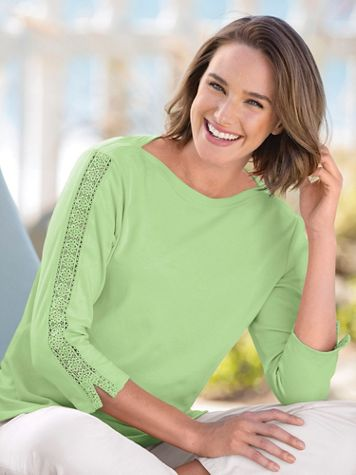 Lace-Sleeve Knit Tee Shirt - Image 1 of 2