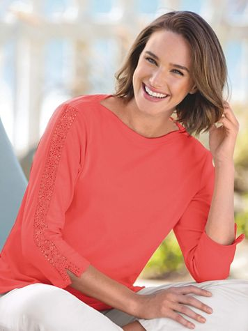 Lace-Sleeve Knit Tee Shirt - Image 1 of 7