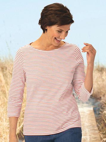 Mini Statement-Stripe Cotton Knit Bateau Tee