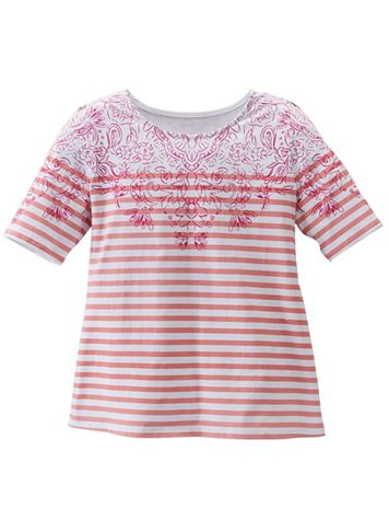 Floral Yoke Striped Tee - Image 4 of 5