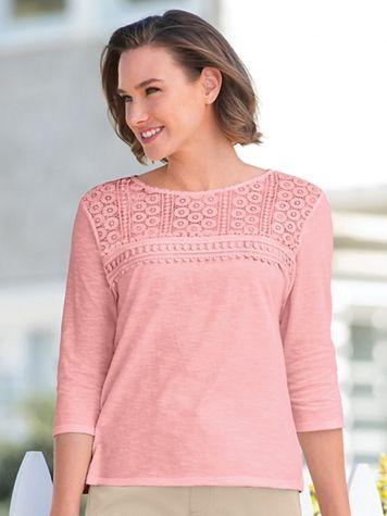 Lace & Eyelet Harmony Tee Shirt - Image 1 of 6