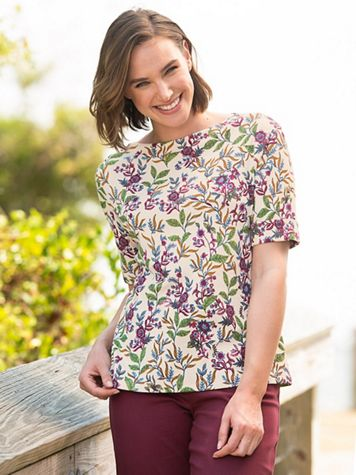 Essential Cotton Floral Roll-Sleeve Tee - Image 1 of 3