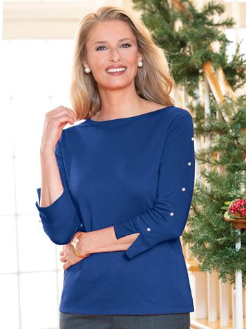 Pearl Button-Sleeve Knit Top - Image 1 of 1