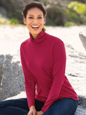 Long-Sleeve Scrunchneck Top