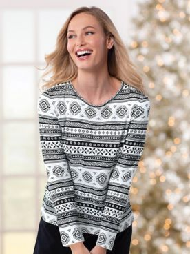 Fair Isle Print Long-Sleeve Tee