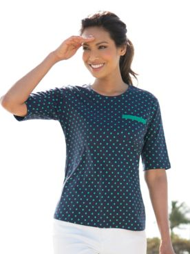 Ribbon-Trimmed Dot Tee