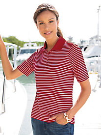 Signature Stripe Elbow-Sleeve Polo