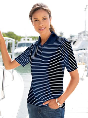 Signature Stripe Elbow-Sleeve Polo - Image 1 of 4