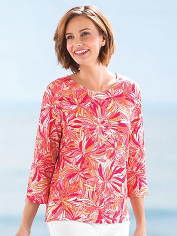 Stained-Glass Blooms Print Cotton Tee - Image 4 of 4