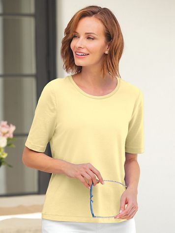 Elbow-Sleeve Prima Cotton Ultimate Layering Tee - Image 1 of 15