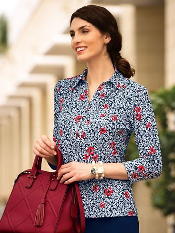 Poppy Print Popover Blouse - Image 2 of 2
