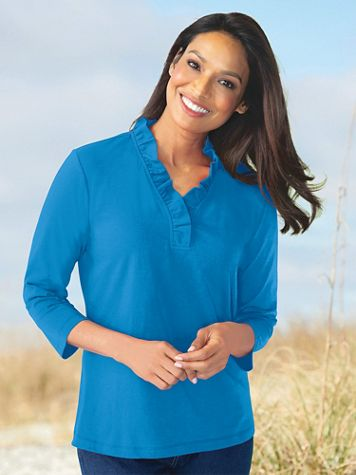 Three-Quarter Sleeve Prima Cotton Solid Ruffle-Neck Tee - Image 1 of 6