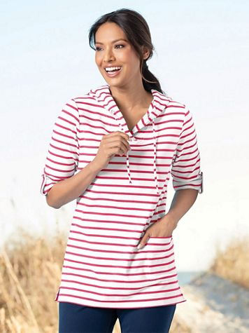 Everyday Knit Striped Tunic Hoodie - Image 1 of 5