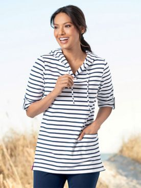 Everyday Knit Striped Tunic Hoodie